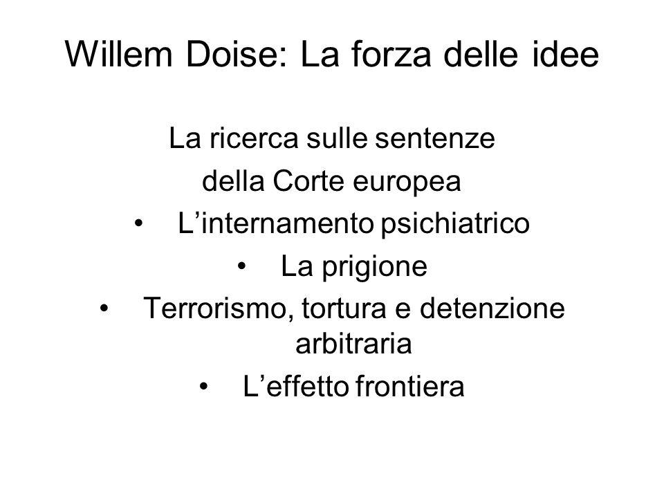 Willem Doise: La forza delle idee La ricerca sulle sentenze della Corte europea L'internamento psichiatrico La prigione Terrorismo, tortura e detenzione arbitraria L'effetto frontiera