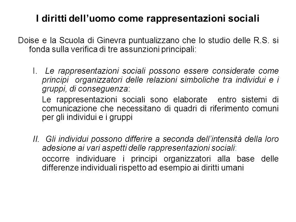 I diritti dell'uomo come rappresentazioni sociali Doise e la Scuola di Ginevra puntualizzano che lo studio delle R.S.