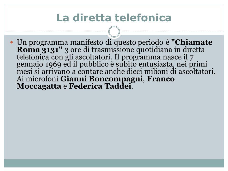 La diretta telefonica Un programma manifesto di questo periodo è Chiamate Roma 3131 3 ore di trasmissione quotidiana in diretta telefonica con gli ascoltatori.