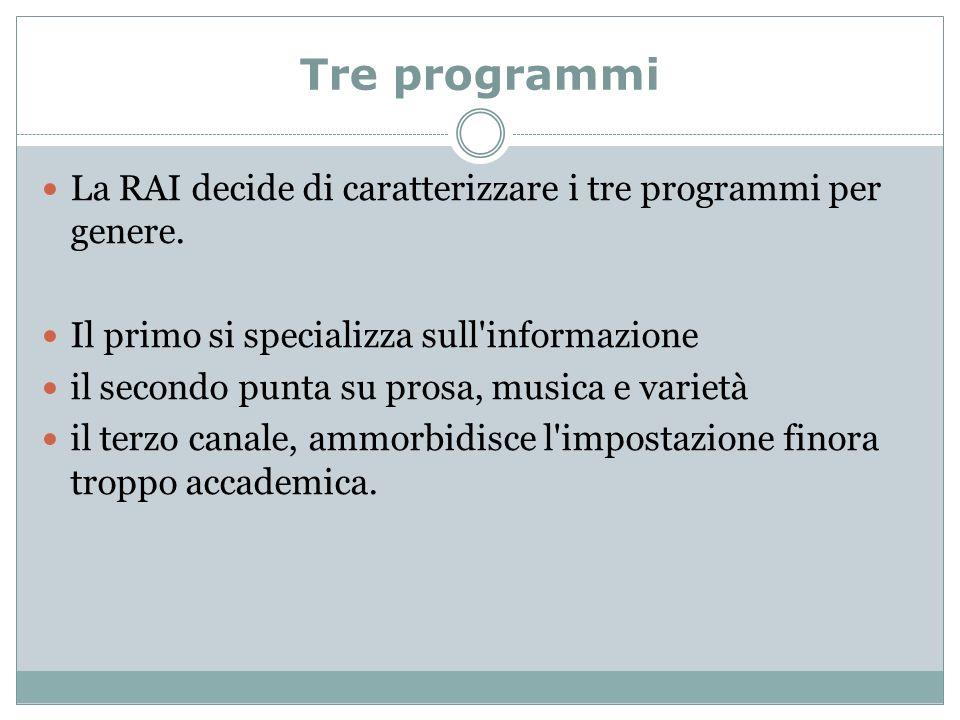 Tre programmi La RAI decide di caratterizzare i tre programmi per genere.
