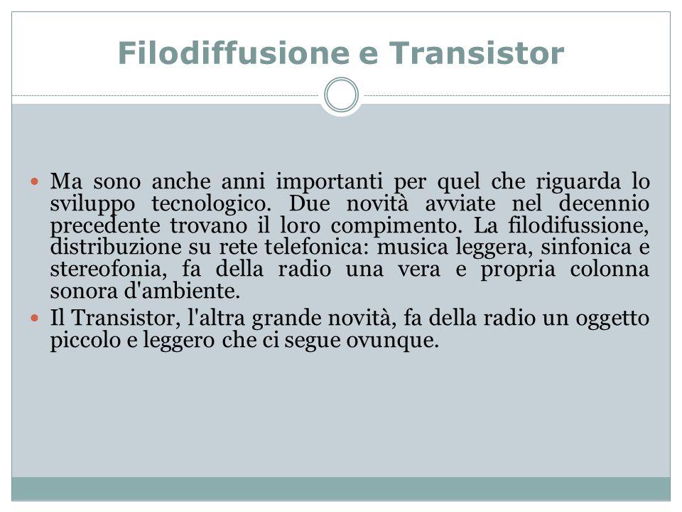 Filodiffusione e Transistor Ma sono anche anni importanti per quel che riguarda lo sviluppo tecnologico.