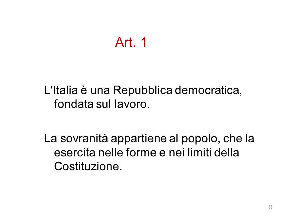 Art. 1 L'Italia è una Repubblica democratica, fondata sul lavoro. La sovranità appartiene al popolo, che la esercita nelle forme e nei limiti della Co