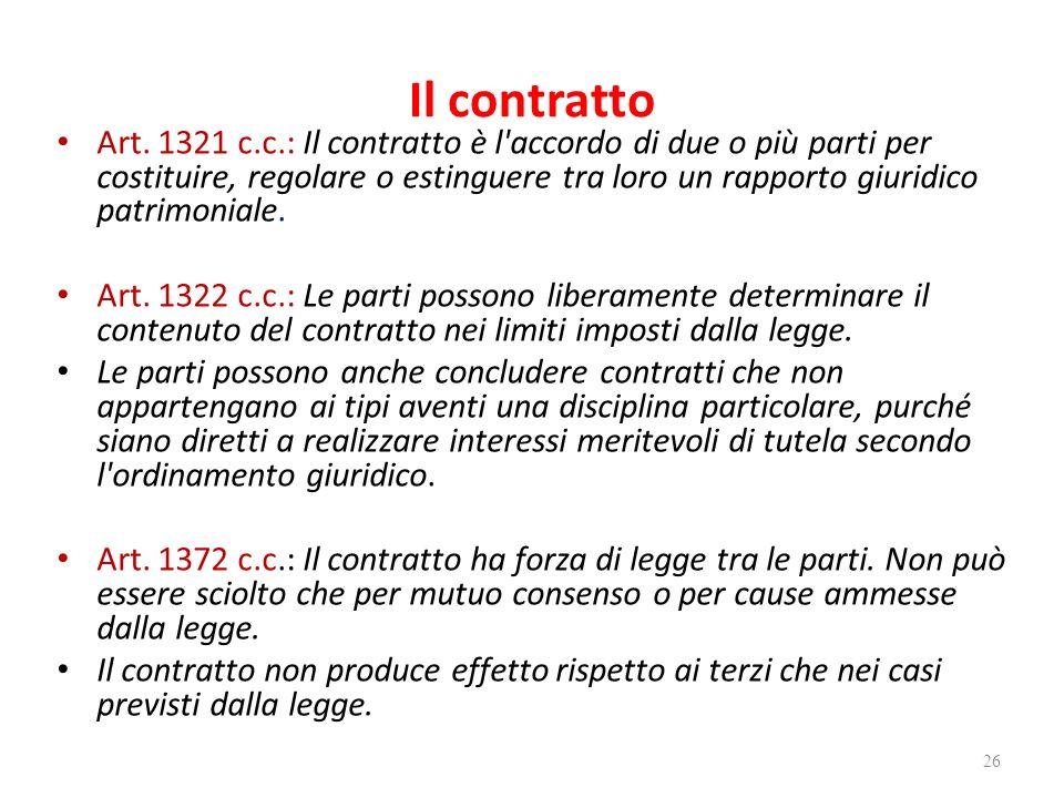 Il contratto Art. 1321 c.c.: Il contratto è l'accordo di due o più parti per costituire, regolare o estinguere tra loro un rapporto giuridico patrimon