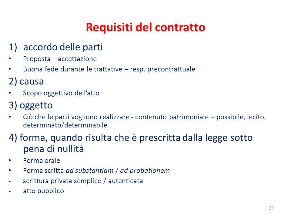 Requisiti del contratto 1)accordo delle parti Proposta – accettazione Buona fede durante le trattative – resp. precontrattuale 2) causa Scopo oggettiv
