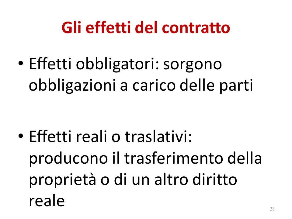 Gli effetti del contratto Effetti obbligatori: sorgono obbligazioni a carico delle parti Effetti reali o traslativi: producono il trasferimento della