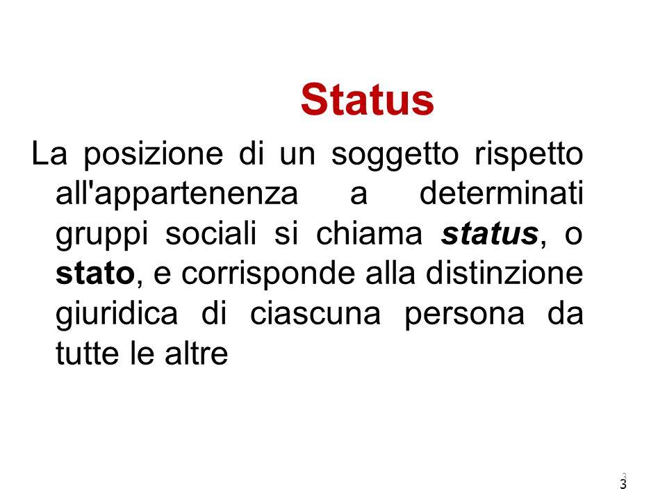 3 Status La posizione di un soggetto rispetto all appartenenza a determinati gruppi sociali si chiama status, o stato, e corrisponde alla distinzione giuridica di ciascuna persona da tutte le altre 3