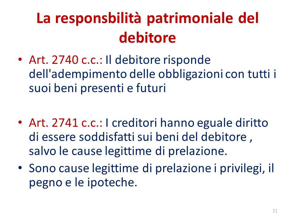 La responsbilità patrimoniale del debitore Art. 2740 c.c.: Il debitore risponde dell'adempimento delle obbligazioni con tutti i suoi beni presenti e f