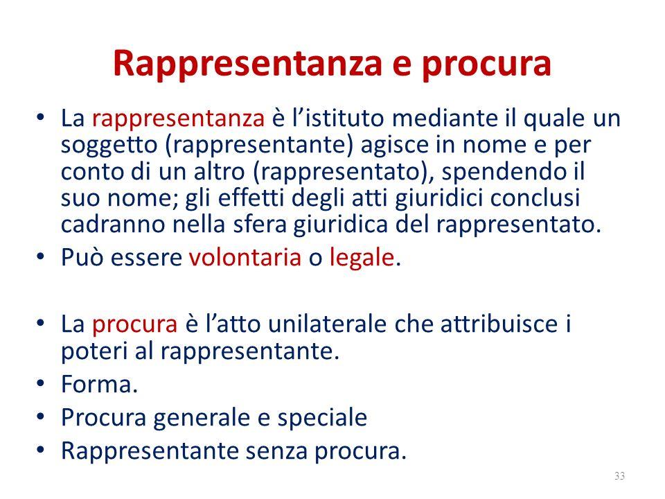 Rappresentanza e procura La rappresentanza è l'istituto mediante il quale un soggetto (rappresentante) agisce in nome e per conto di un altro (rappresentato), spendendo il suo nome; gli effetti degli atti giuridici conclusi cadranno nella sfera giuridica del rappresentato.