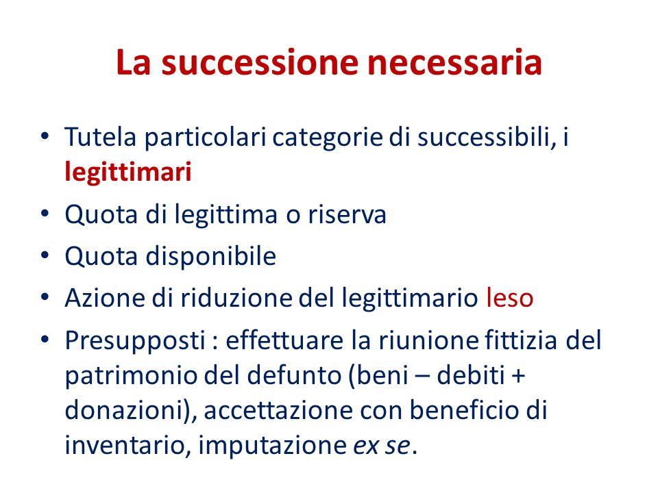 La successione necessaria Tutela particolari categorie di successibili, i legittimari Quota di legittima o riserva Quota disponibile Azione di riduzio