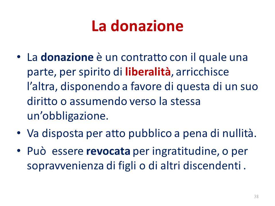 La donazione La donazione è un contratto con il quale una parte, per spirito di liberalità, arricchisce l'altra, disponendo a favore di questa di un suo diritto o assumendo verso la stessa un'obbligazione.