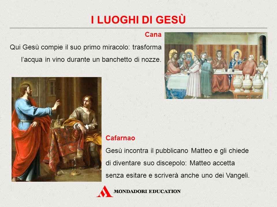 Cana Qui Gesù compie il suo primo miracolo: trasforma l'acqua in vino durante un banchetto di nozze.