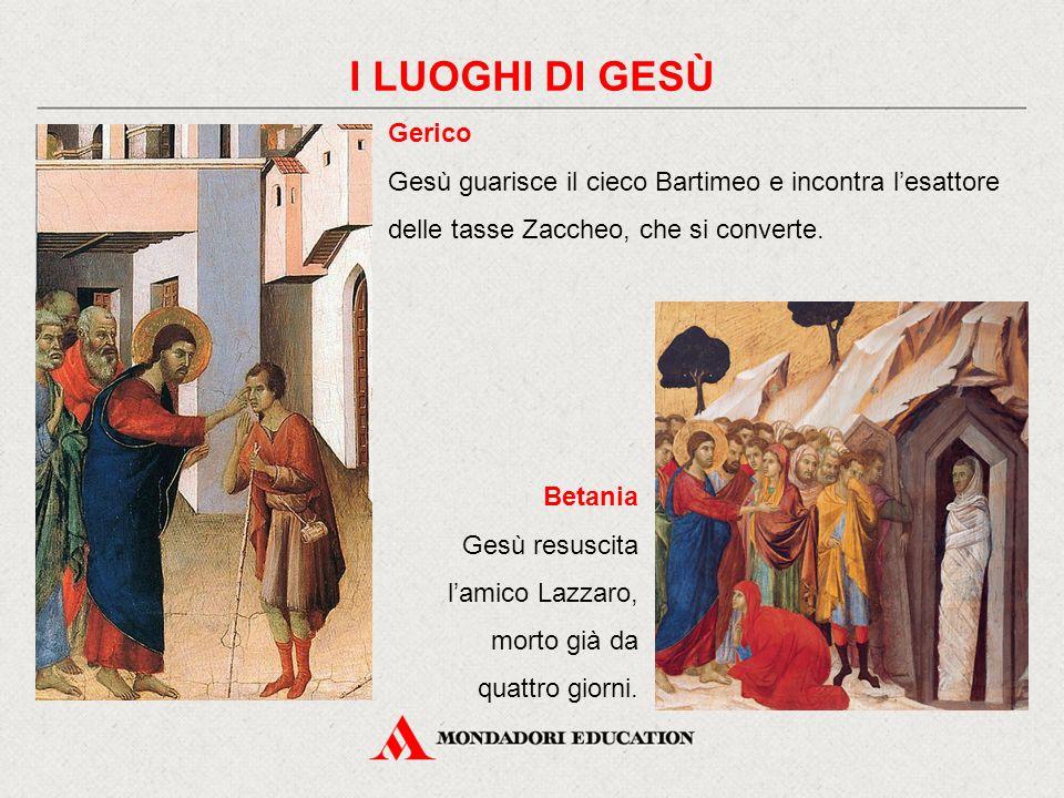 Gerico Gesù guarisce il cieco Bartimeo e incontra l'esattore delle tasse Zaccheo, che si converte.