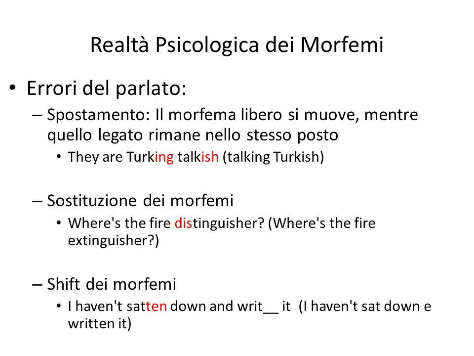 Realtà Psicologica dei Morfemi Errori del parlato: – Spostamento: Il morfema libero si muove, mentre quello legato rimane nello stesso posto They are