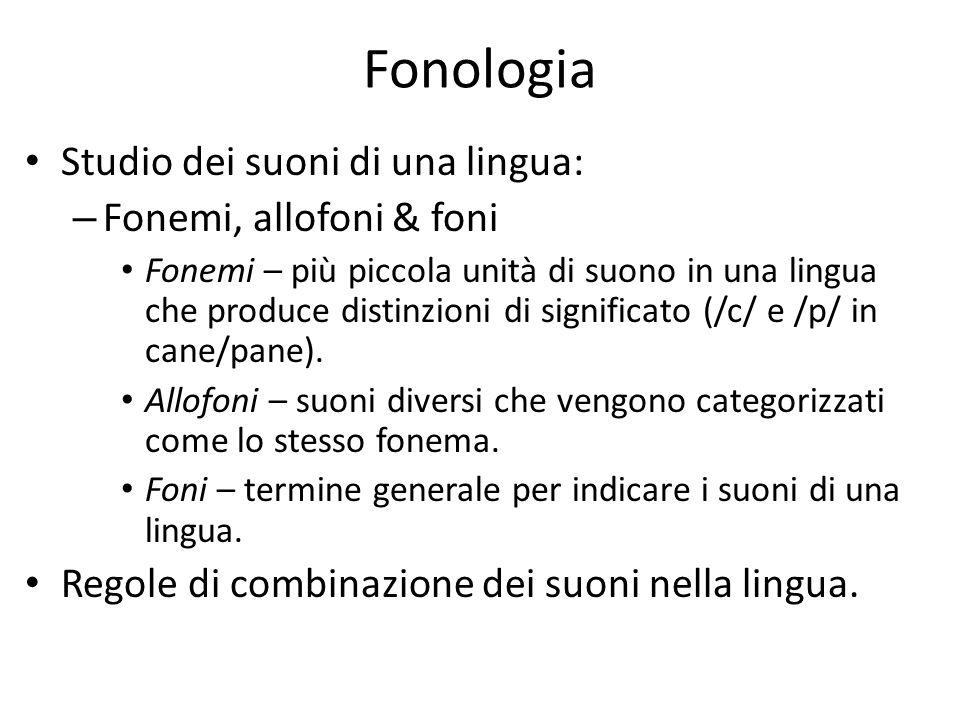 Fonologia Studio dei suoni di una lingua: – Fonemi, allofoni & foni Fonemi – più piccola unità di suono in una lingua che produce distinzioni di signi