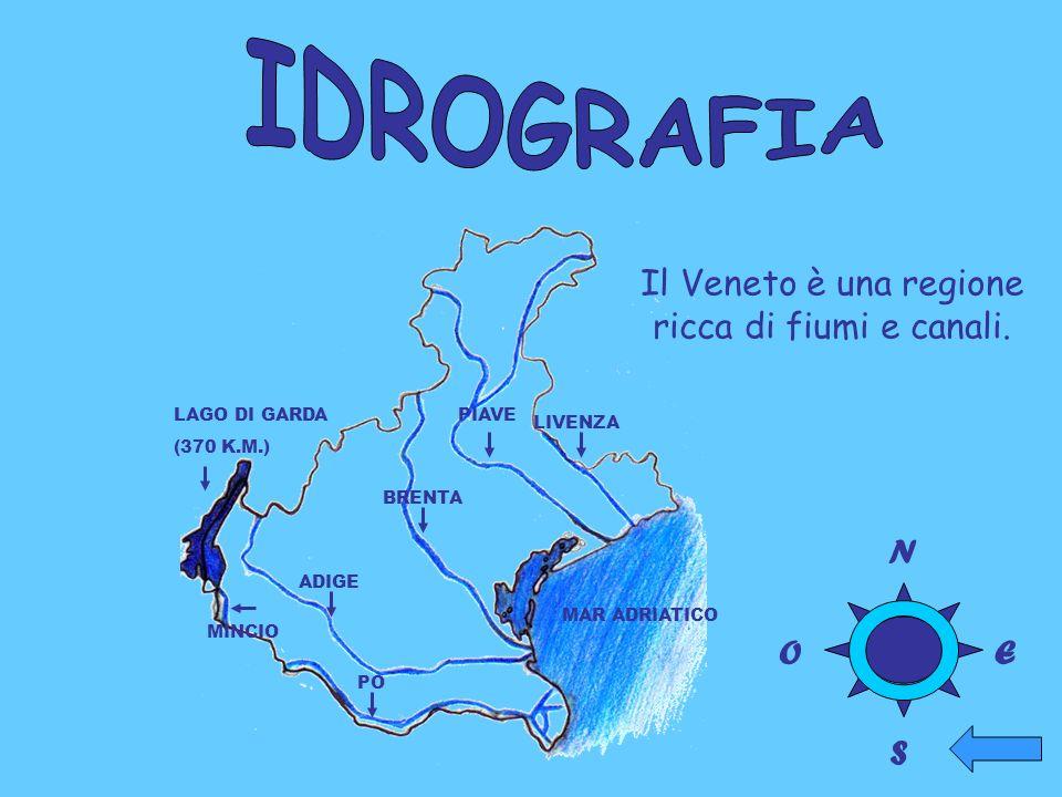 LIVENZA PIAVE BRENTA ADIGE PO MINCIO MAR ADRIATICO LAGO DI GARDA (370 K.M.) Il Veneto è una regione ricca di fiumi e canali. N O S E
