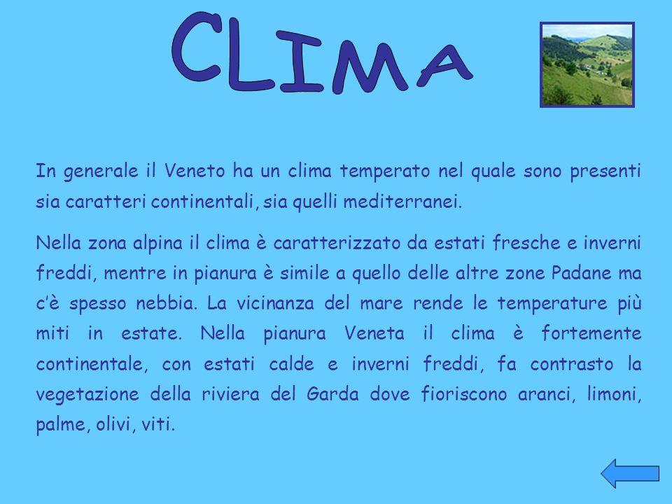 In generale il Veneto ha un clima temperato nel quale sono presenti sia caratteri continentali, sia quelli mediterranei. Nella zona alpina il clima è
