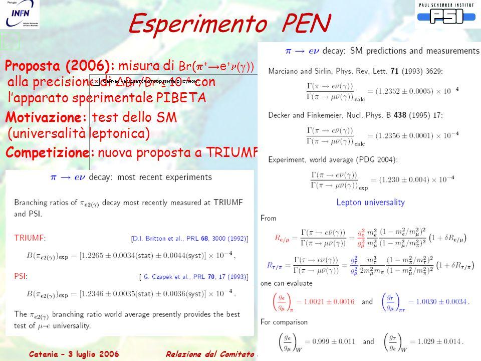 Catania – 3 luglio 2006Relazione dal Comitato Scientifico del PSI 12 Esperimento PEN Proposta (2006): misura di Br(  + →e + ( γ )) alla precisione di ΔBr/Br ≤ 10 -4 con l'apparato sperimentale PIBETA Motivazione: test dello SM (universalità leptonica) Competizione: nuova proposta a TRIUMF