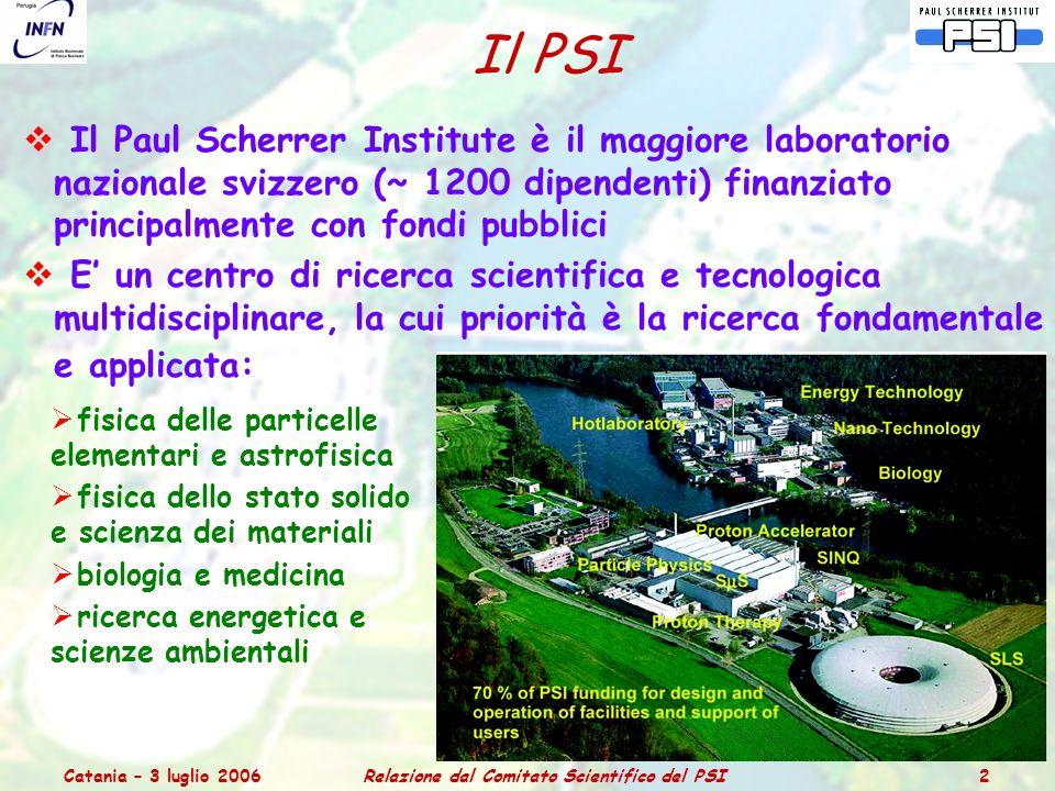 Catania – 3 luglio 2006Relazione dal Comitato Scientifico del PSI 3 Struttura Organizzativa del PSI PSI Organizational Structure: