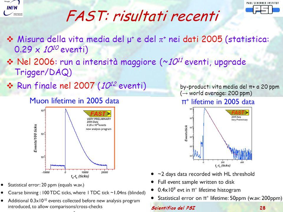 Catania – 3 luglio 2006Relazione dal Comitato Scientifico del PSI 28 FAST: risultati recenti  Misura della vita media del μ + e del π + nei dati 2005 (statistica: 0.29 x 10 10 eventi)  Nel 2006: run a intensità maggiore (~10 11 eventi, upgrade Trigger/DAQ)  Run finale nel 2007 (10 12 eventi) by-product: vita media del π+ a 20 ppm ( → world average: 200 ppm)