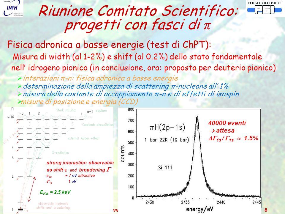 Catania – 3 luglio 2006Relazione dal Comitato Scientifico del PSI 8 Fisica adronica a basse energie (test di ChPT): Misura di width (al 1-2%) e shift (al 0.2%) dello stato fondamentale nell' idrogeno pionico (in conclusione, ora: proposta per deuterio pionico)  interazioni π-n: fisica adronica a basse energie  determinazione della ampiezza di scattering π-nucleone all' 1%  misura della costante di accoppiamento π-n e di effetti di isospin  misure di posizione e energia (CCD) Riunione Comitato Scientifico: progetti con fasci di π E K  = 2.5 keV strong interaction observable as shift  and broadening   1s + 7 eV attractive  1s 1 eV 2 isospin scattering length a  = a  -p  -p  a  +p  +p isospin invariance: m u = m d a  -p  -p + a  +p  +p = -  2 a  -p  o n  1s = + 7.120  0.008  0.006 eV (  0.2%)  H: ChPT 3rd order 40000 eventi  attesa  1s /  1s  1.5%