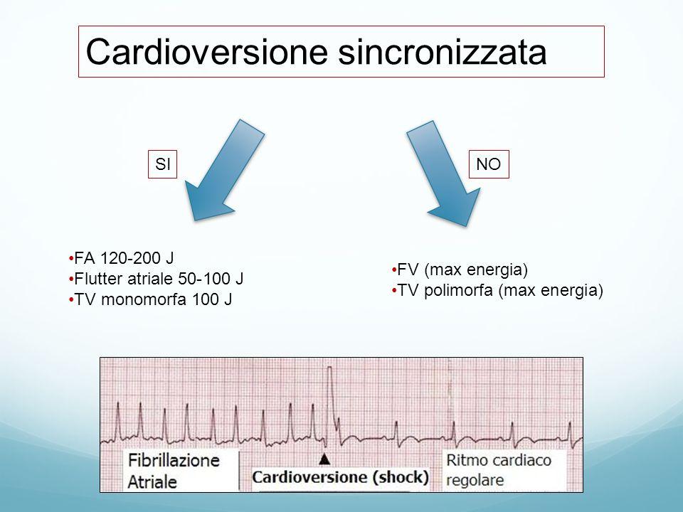 Cardioversione sincronizzata FA 120-200 J Flutter atriale 50-100 J TV monomorfa 100 J FV (max energia) TV polimorfa (max energia) SINO