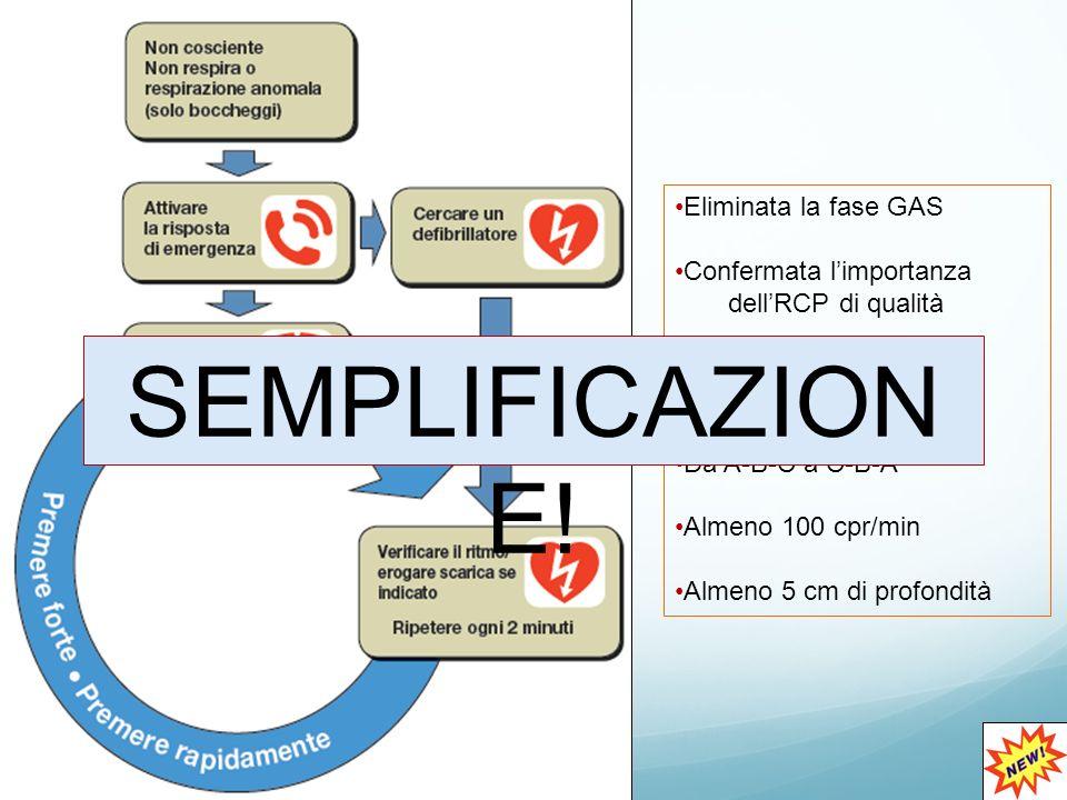 Eliminata la fase GAS Confermata l'importanza dell'RCP di qualità Enfatizzata l'importanza delle compressioni Da A-B-C a C-B-A Almeno 100 cpr/min Almeno 5 cm di profondità SEMPLIFICAZION E!