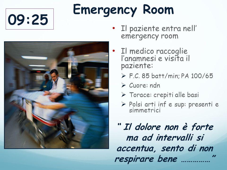 09:25 Il paziente entra nell' emergency room Il medico raccoglie l'anamnesi e visita il paziente:  F.C.