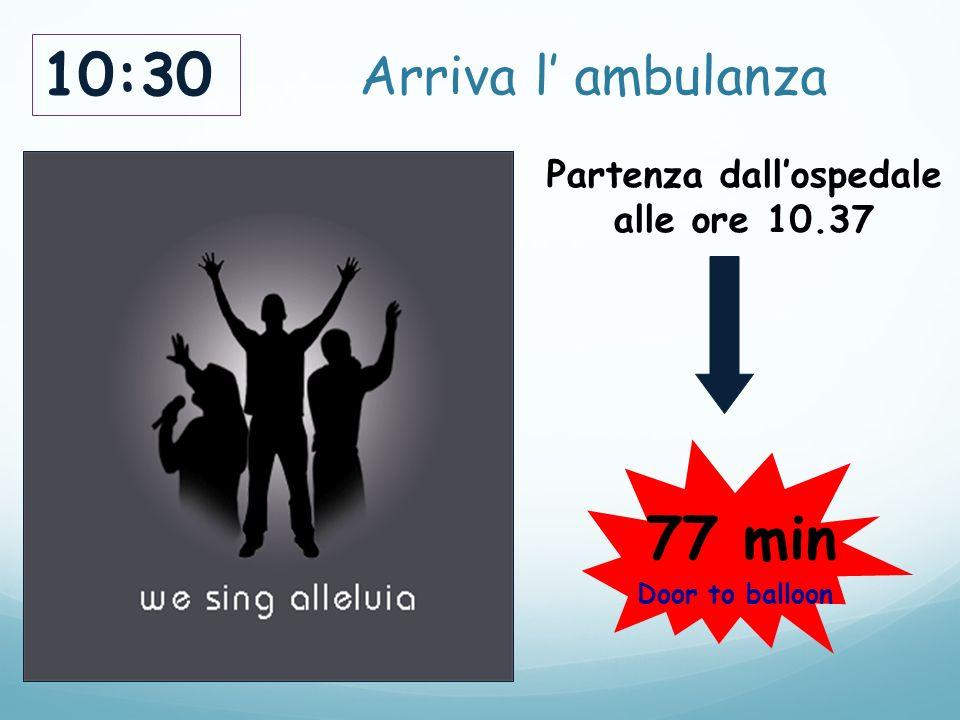 Arriva l' ambulanza 10:30 Partenza dall'ospedale alle ore 10.37 77 min Door to balloon