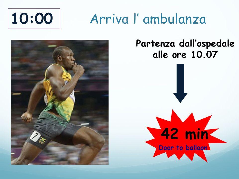 Arriva l' ambulanza 10:00 Partenza dall'ospedale alle ore 10.07 42 min Door to balloon