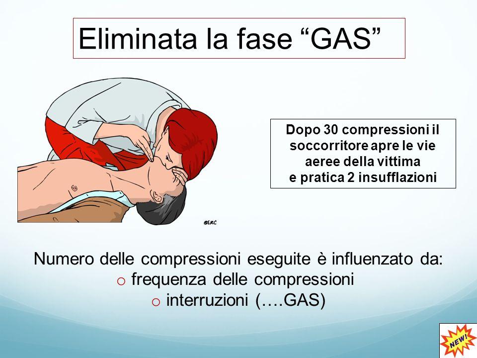 Eliminata la fase GAS Dopo 30 compressioni il soccorritore apre le vie aeree della vittima e pratica 2 insufflazioni Numero delle compressioni eseguite è influenzato da: o frequenza delle compressioni o interruzioni (….GAS)