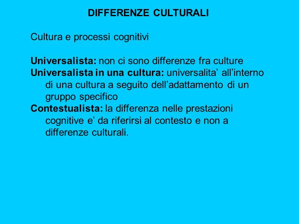 DIFFERENZE CULTURALI Cultura e processi cognitivi Universalista: non ci sono differenze fra culture Universalista in una cultura: universalita' all'interno di una cultura a seguito dell'adattamento di un gruppo specifico Contestualista: la differenza nelle prestazioni cognitive e' da riferirsi al contesto e non a differenze culturali.