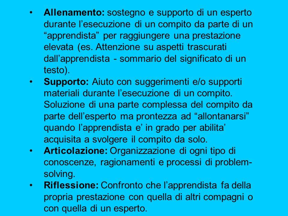 Allenamento: sostegno e supporto di un esperto durante l'esecuzione di un compito da parte di un apprendista per raggiungere una prestazione elevata (es.