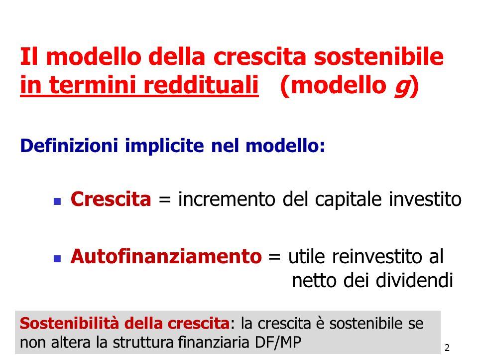 2 Il modello della crescita sostenibile in termini reddituali (modello g) Definizioni implicite nel modello: Crescita = incremento del capitale invest