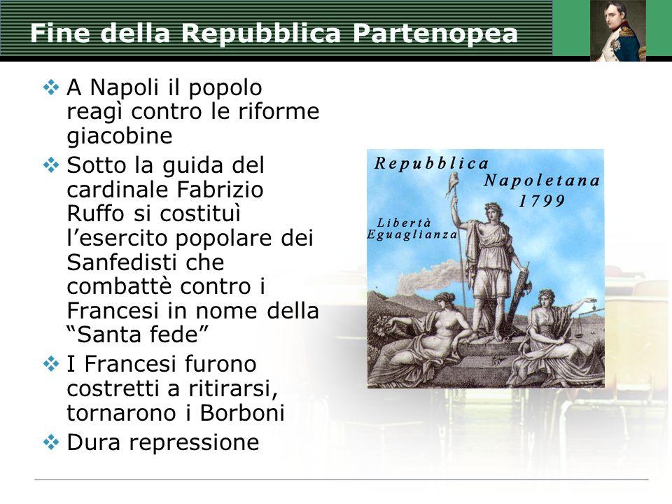 Fine della Repubblica Partenopea  A Napoli il popolo reagì contro le riforme giacobine  Sotto la guida del cardinale Fabrizio Ruffo si costituì l'esercito popolare dei Sanfedisti che combattè contro i Francesi in nome della Santa fede  I Francesi furono costretti a ritirarsi, tornarono i Borboni  Dura repressione