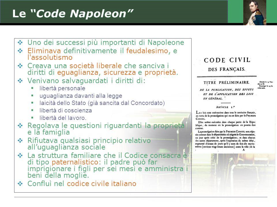 Le Code Napoleon  Uno dei successi più importanti di Napoleone  Eliminava definitivamente il feudalesimo, e l assolutismo  Creava una società liberale che sanciva i diritti di eguaglianza, sicurezza e proprietà.