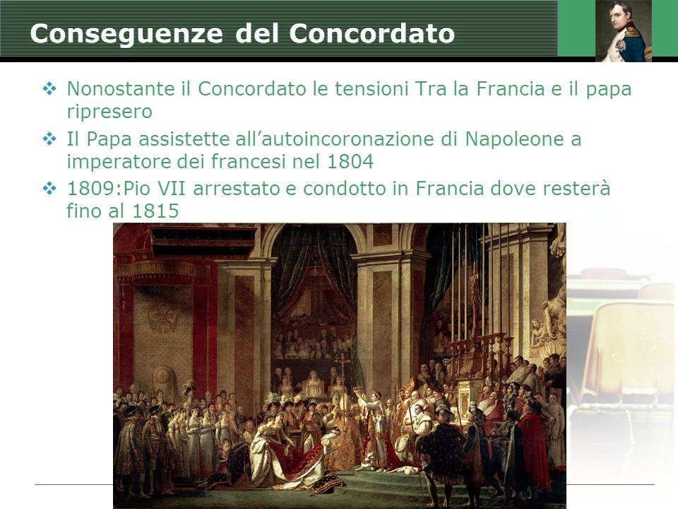 Jacques Louis David: Incoronazione di Napoleone Conseguenze del Concordato  Nonostante il Concordato le tensioni Tra la Francia e il papa ripresero 