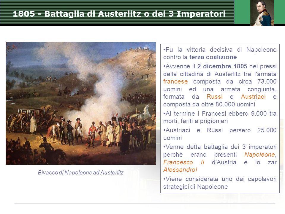 Fu la vittoria decisiva di Napoleone contro la terza coalizione Avvenne il 2 dicembre 1805 nei pressi della cittadina di Austerlitz tra l armata francese composta da circa 73.000 uomini ed una armata congiunta, formata da Russi e Austriaci e composta da oltre 80.000 uomini Al termine i Francesi ebbero 9.000 tra morti, feriti e prigionieri Austriaci e Russi persero 25.000 uomini Venne detta battaglia dei 3 imperatori perchè erano presenti Napoleone, Francesco II d Austria e lo zar AlessandroI Viene considerata uno dei capolavori strategici di Napoleone 1805 - Battaglia di Austerlitz o dei 3 Imperatori Bivacco di Napoleone ad Austerlitz