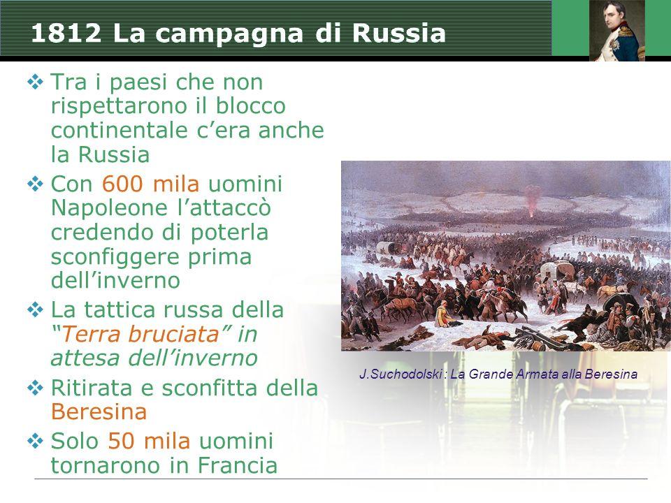1812 La campagna di Russia  Tra i paesi che non rispettarono il blocco continentale c'era anche la Russia  Con 600 mila uomini Napoleone l'attaccò c