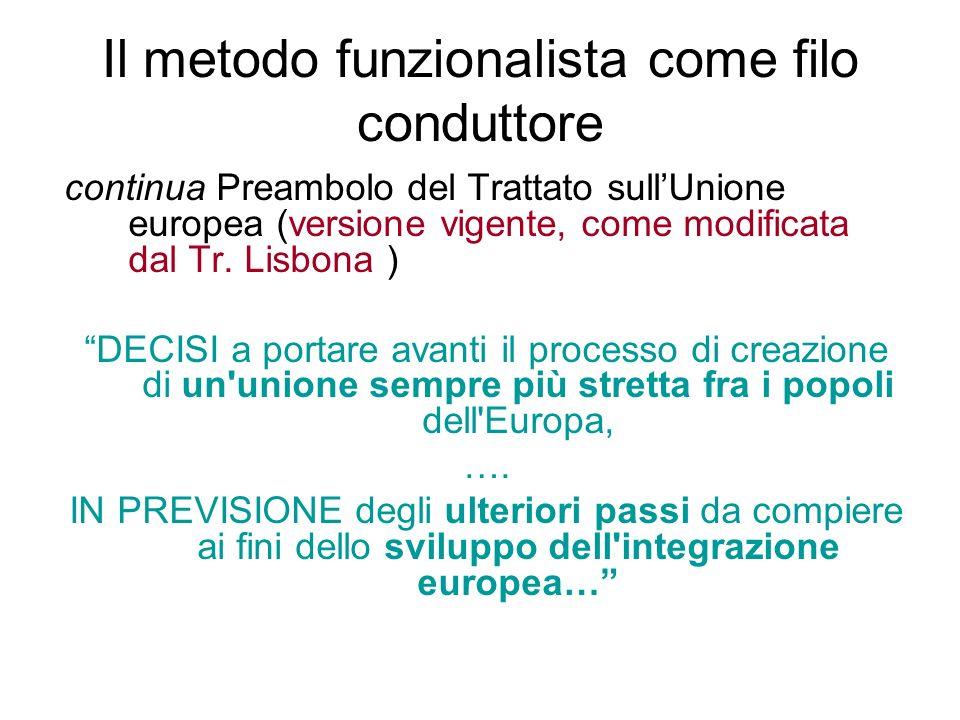 Il metodo funzionalista come filo conduttore continua Preambolo del Trattato sull'Unione europea (versione vigente, come modificata dal Tr.