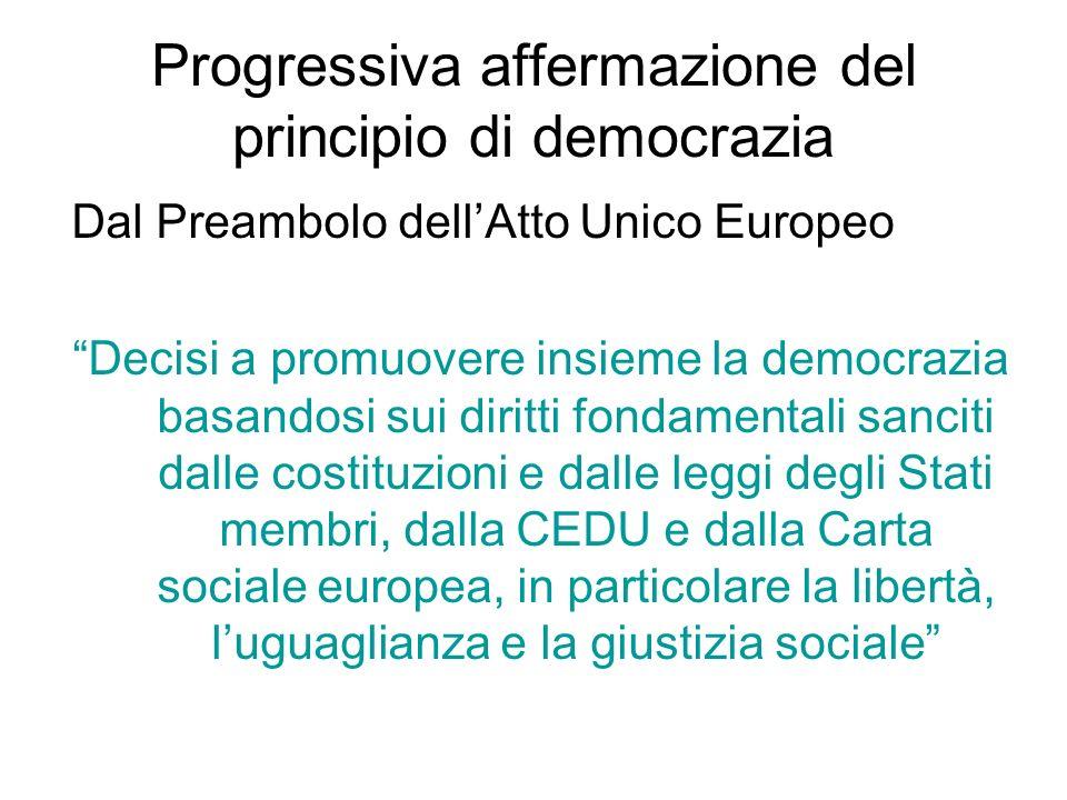 Progressiva affermazione del principio di democrazia Dal Preambolo dell'Atto Unico Europeo Decisi a promuovere insieme la democrazia basandosi sui diritti fondamentali sanciti dalle costituzioni e dalle leggi degli Stati membri, dalla CEDU e dalla Carta sociale europea, in particolare la libertà, l'uguaglianza e la giustizia sociale