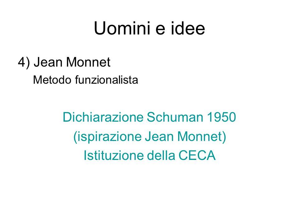 Uomini e idee 4) Jean Monnet Metodo funzionalista Dichiarazione Schuman 1950 (ispirazione Jean Monnet) Istituzione della CECA