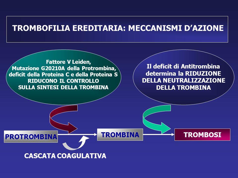 PROTROMBINA TROMBINATROMBOSI TROMBOFILIA EREDITARIA: MECCANISMI D'AZIONE Fattore V Leiden, Mutazione G20210A della Protrombina, deficit della Proteina