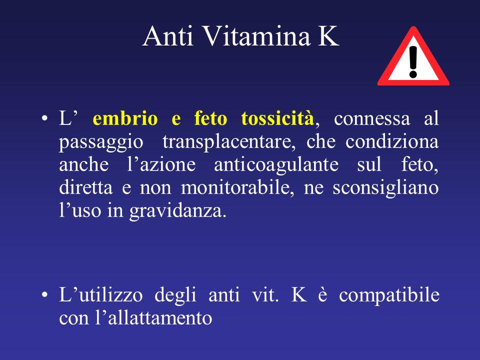 Anti Vitamina K L' embrio e feto tossicità, connessa al passaggio transplacentare, che condiziona anche l'azione anticoagulante sul feto, diretta e non monitorabile, ne sconsigliano l'uso in gravidanza.