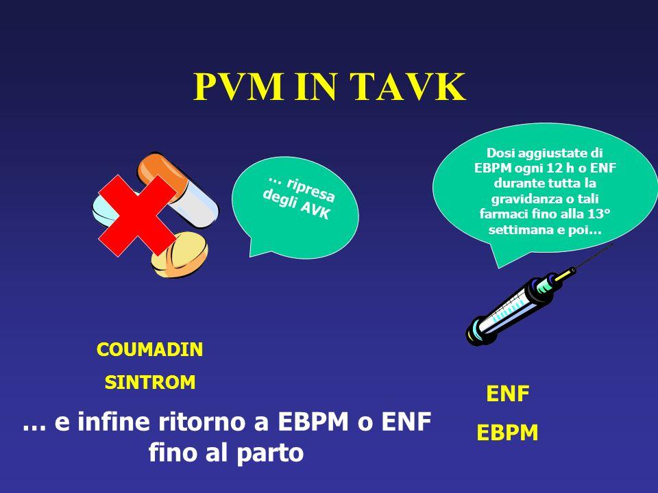 PVM IN TAVK COUMADIN SINTROM ENF EBPM Dosi aggiustate di EBPM ogni 12 h o ENF durante tutta la gravidanza o tali farmaci fino alla 13° settimana e poi