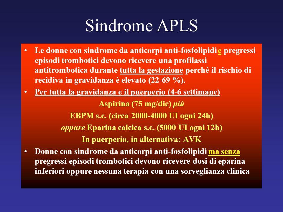 Le donne con sindrome da anticorpi anti-fosfolipidi e pregressi episodi trombotici devono ricevere una profilassi antitrombotica durante tutta la gest