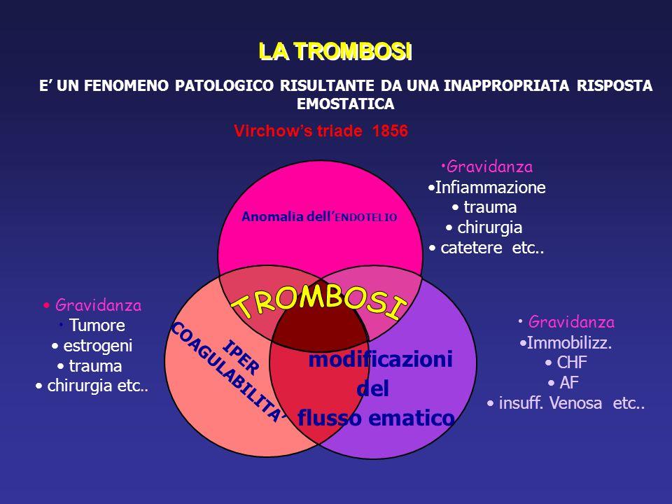 LA TROMBOSI E' UN FENOMENO PATOLOGICO RISULTANTE DA UNA INAPPROPRIATA RISPOSTA EMOSTATICA modificazioni del flusso ematico Anomalia dell' ENDOTELIO IPER COAGULABILITA' Virchow's triade 1856 Gravidanza Tumore estrogeni trauma chirurgia etc..
