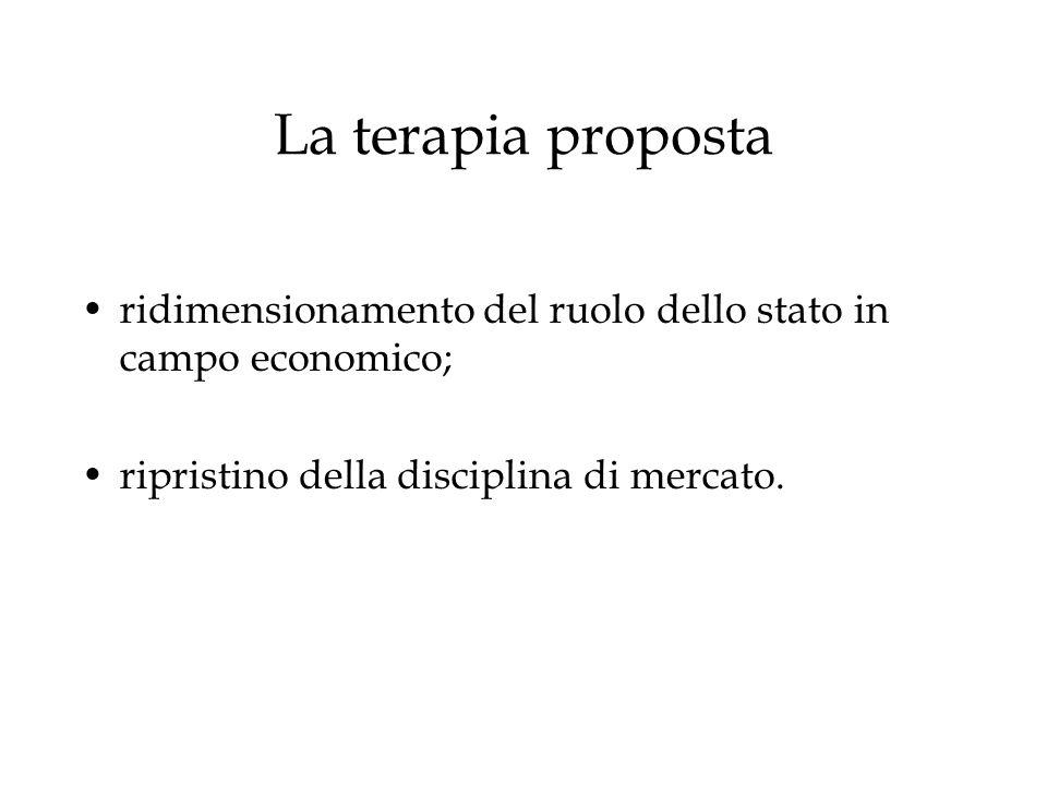 La terapia proposta ridimensionamento del ruolo dello stato in campo economico; ripristino della disciplina di mercato.
