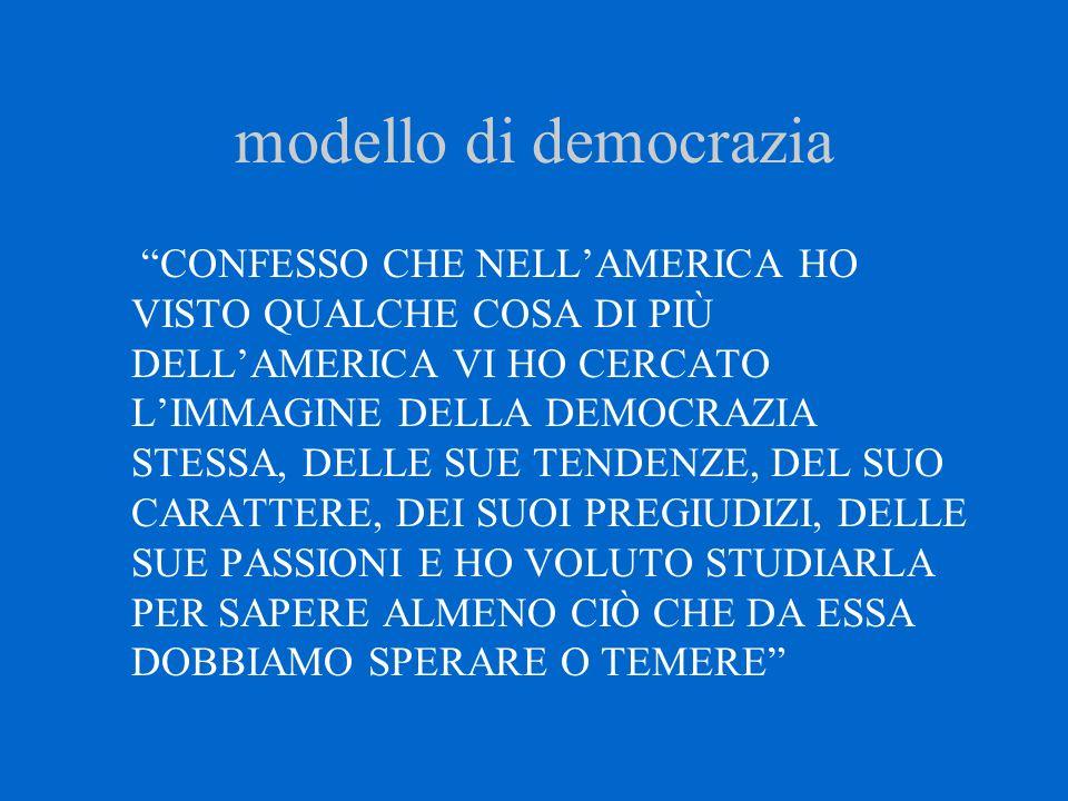 """modello di democrazia """"CONFESSO CHE NELL'AMERICA HO VISTO QUALCHE COSA DI PIÙ DELL'AMERICA VI HO CERCATO L'IMMAGINE DELLA DEMOCRAZIA STESSA, DELLE SUE"""