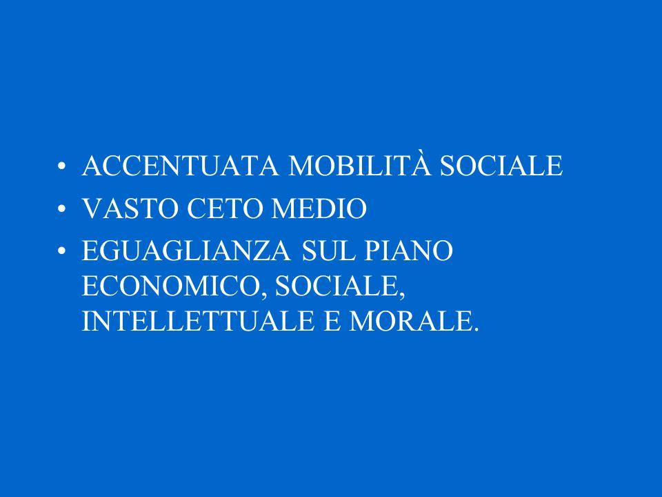 ACCENTUATA MOBILITÀ SOCIALE VASTO CETO MEDIO EGUAGLIANZA SUL PIANO ECONOMICO, SOCIALE, INTELLETTUALE E MORALE.