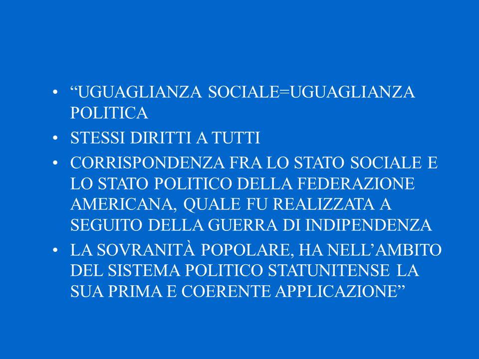 UGUAGLIANZA SOCIALE=UGUAGLIANZA POLITICA STESSI DIRITTI A TUTTI CORRISPONDENZA FRA LO STATO SOCIALE E LO STATO POLITICO DELLA FEDERAZIONE AMERICANA, QUALE FU REALIZZATA A SEGUITO DELLA GUERRA DI INDIPENDENZA LA SOVRANITÀ POPOLARE, HA NELL'AMBITO DEL SISTEMA POLITICO STATUNITENSE LA SUA PRIMA E COERENTE APPLICAZIONE